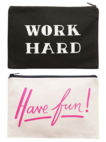 Work Hard / Have Fun Double Sided Pouch | Graduation Gifts | Alphabet Bags
