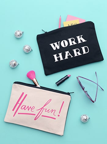 Photo of Work Hard/Have Fun - Double-sided Pouch