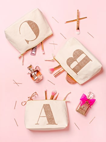 Rose Gold Makeup Bag | Initial Makeup Bag | Alphabet Bags