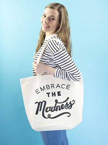 Embrace The Madness Canvas Bag | Nappy Tote Bag | Alphabet Bags