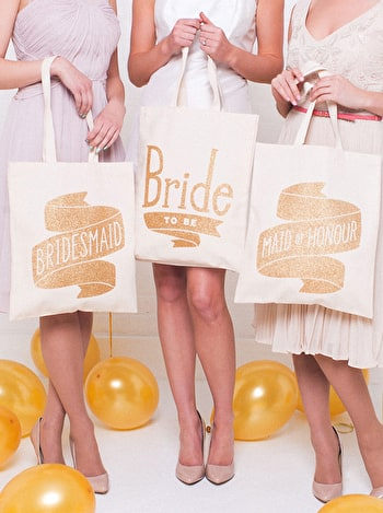 Photo of Bridesmaid Gold Glitter - Wedding Tote Bag