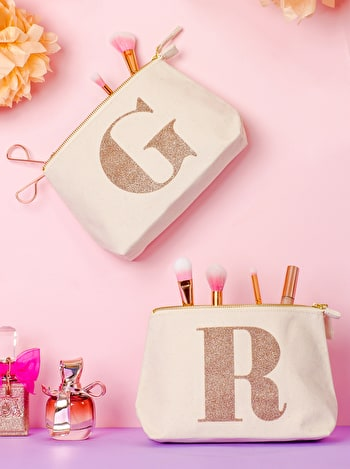 Photo of Initial Makeup Bag - Rose Gold Glitter