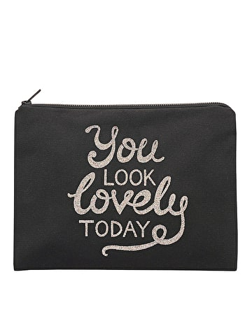 You Look Lovely Today - Black Canvas Pouch