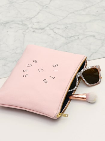 Bits and Bobs Pink Canvas Pouch | Blush Pink Makeup Bag | Alphabet Bags