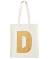 Initial Cotton Tote Bag - Gold Glitter
