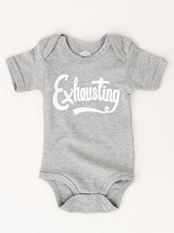 Exhausting Bodysuit | Slogan Babygrows | Alphabet Bags