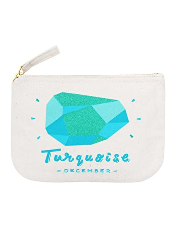 Turquoise Birthstone Canvas Pouch | Birthday Gift For Her | Alphabet Bags