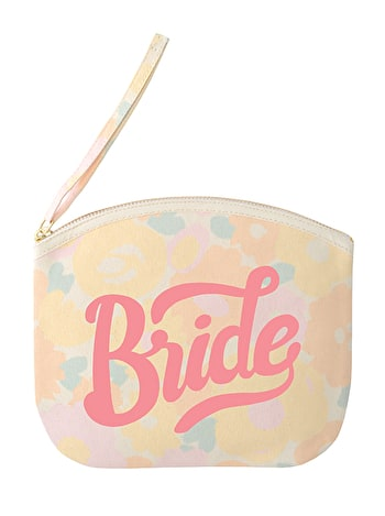 Bride - Floral Canvas Wedding Pouch