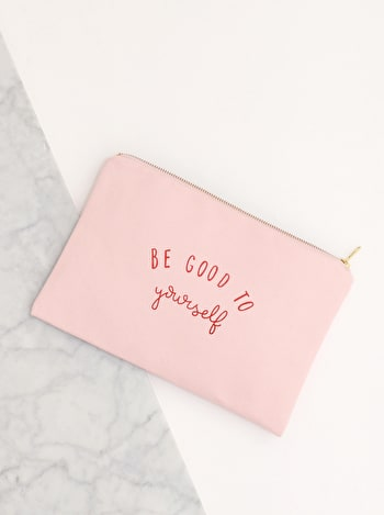 Be Good To Yourself Pink Canvas Pouch | Blush Pink Clutch | Alphabet Bags