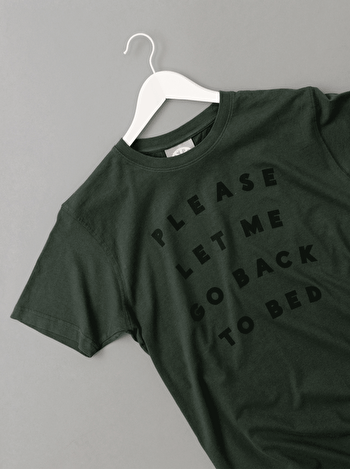 Please Let Me Go Back To Bed Men's T Shirt | Men's Slogan T-Shirts | Alphabet Bags