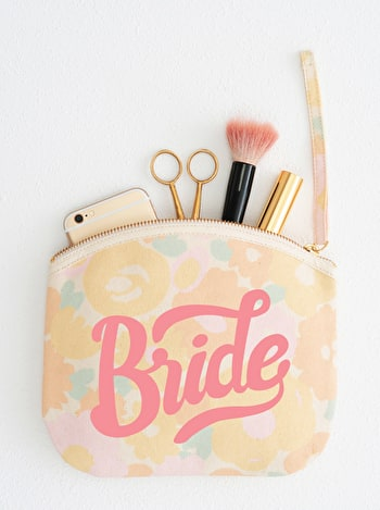 Photo of Bride - Floral Canvas Wedding Pouch