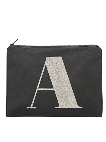 Initial Canvas Pouch - Black