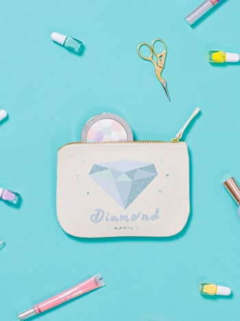 Diamond Birthstone Canvas Pouch | Birthday Gift For Her | Alphabet Bags