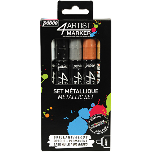 Pebeo 4Artist Marker 4mm Assorted Metallic Colours Set of 5