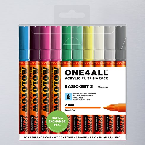 Molotow ONE4ALL 127HS Acrylic Pump Marker Basic Set 3 Round Nib 2mm Set of 10