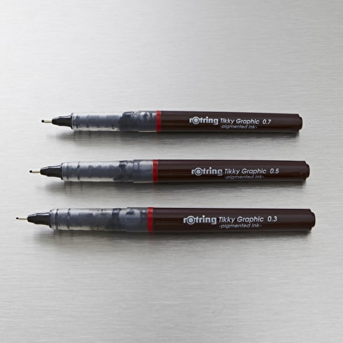 Rotring Tikky Graphic 0.3 to 0.7mm Set of 3 Black