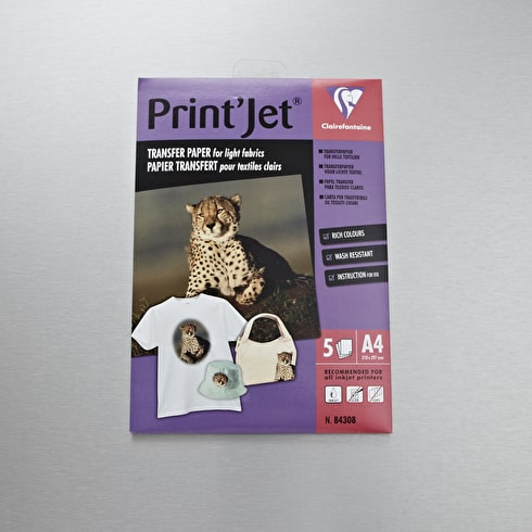 Clairefontaine Print Jet T-Shirt Transfer Paper x 5 Sheets A4