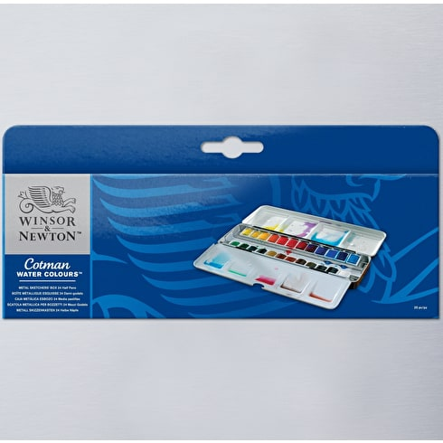 Winsor & Newton Cotman Watercolour 24 Half Pan Metal Sketchers Box | Great Value Watercolours | Cass Art
