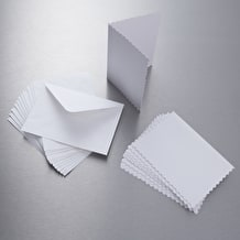 Papermania Scalloped Edge Card and Envelope 300gms A6 White Pack of 12