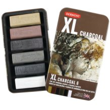 Derwent XL Charcoal Tin Set of 6 Assorted Colours