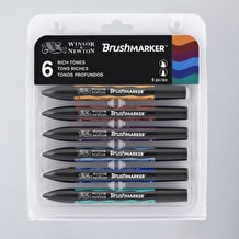 Winsor & Newton Brush Marker Rich Tones Set of 6
