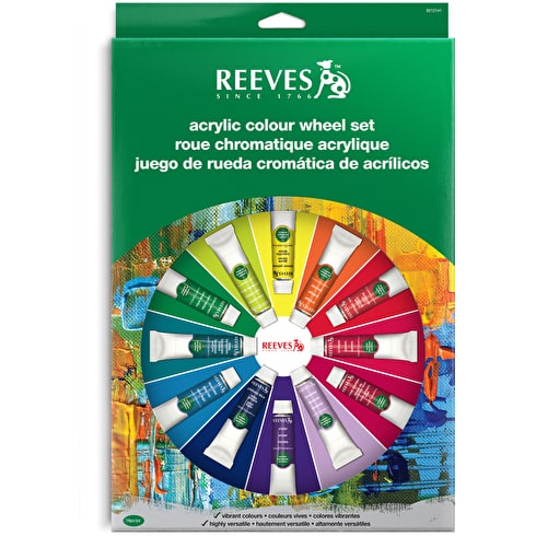 Reeves Acrylic Colour Wheel 10ml Assorted Colours Set of 18