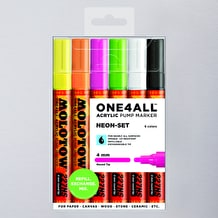Molotow ONE4ALL 227HS Acrylic Pump Marker Neon Set Round Nib 4mm Set of 6