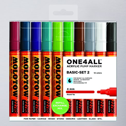 Molotow ONE4ALL Acrylic Pump Marker Basic Set 2 Round Nib 4mm Set of 10