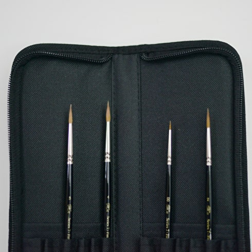Winsor & Newton Series 7 Kolinsky Sable Brush Wallet Set of 4 | Sable Brushes | Cass Art