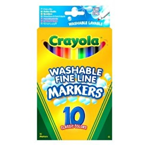 Crayola Washable Fine Line Markers Pack of 10 Assorted Colours