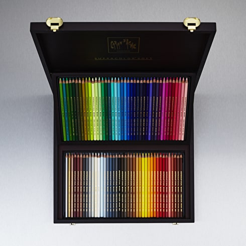 Caran D'ache Supracolor Watersoluble Coloured Pencil Wodeen Box Assorted Colours Set of 80