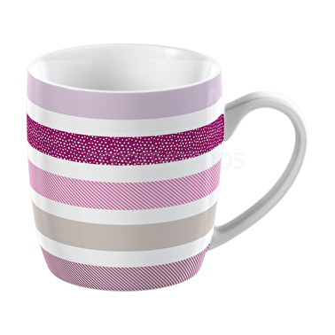 Everyday Home Pink Textured Stripe Barrel Mug