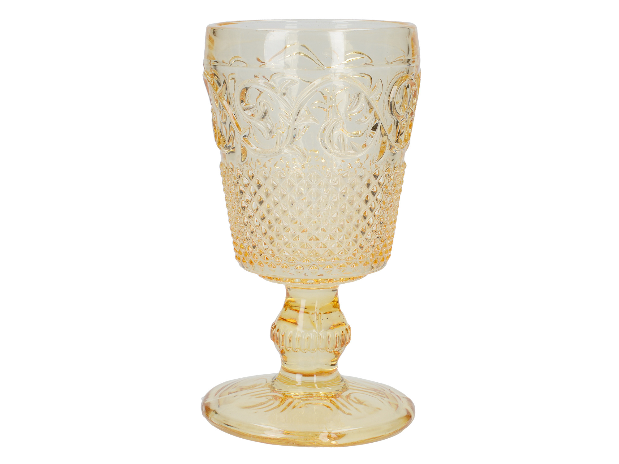 Katie Alice The Collection Stemmed Embossed Goblet Yellow