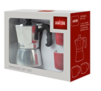 La Cafetiere 3 Cup Stove Top With 2 Red Espresso Cups