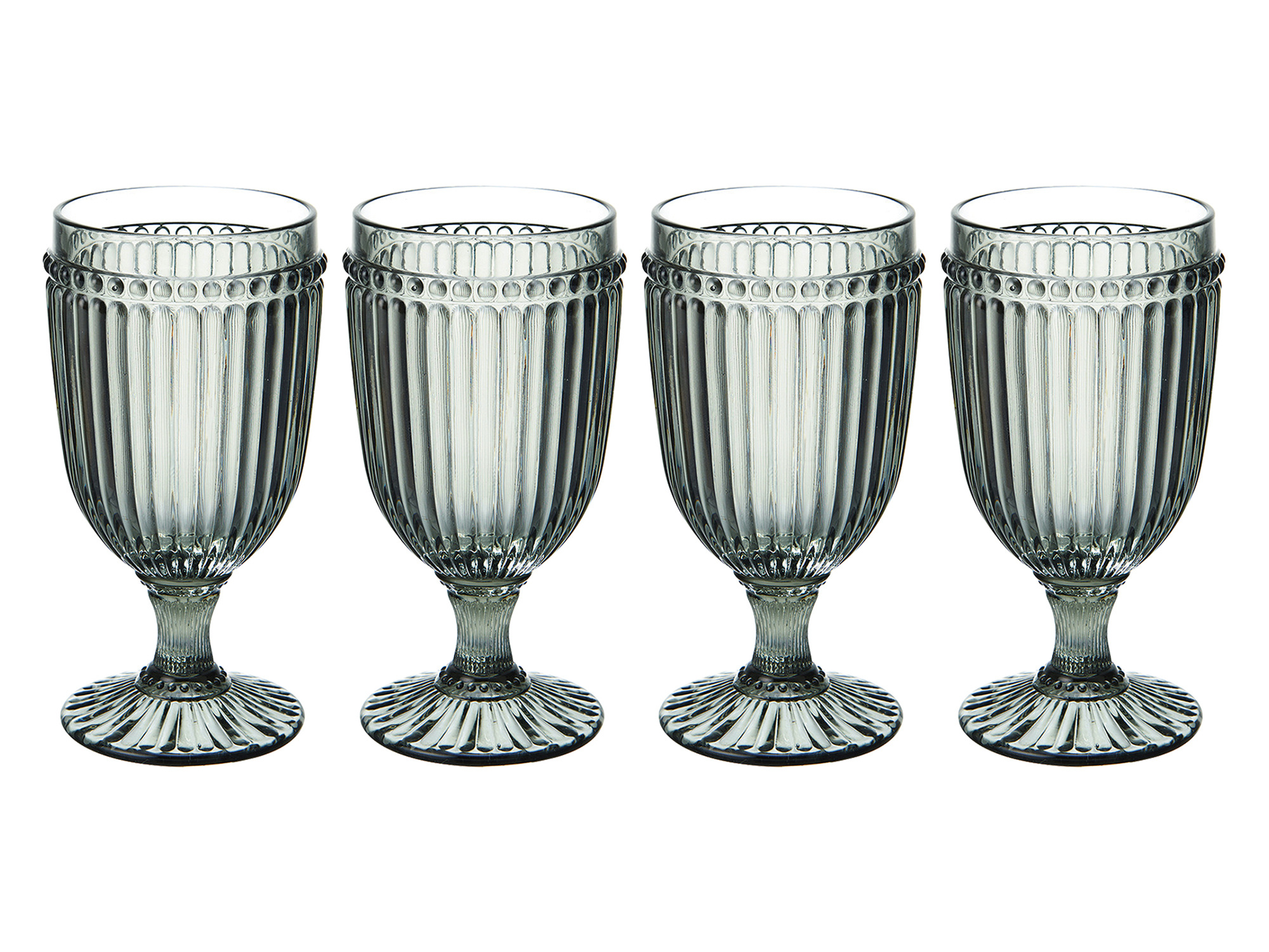Mikasa Italian Countryside Set Of 4 Iced Beverage 13Oz Glasses Smoke