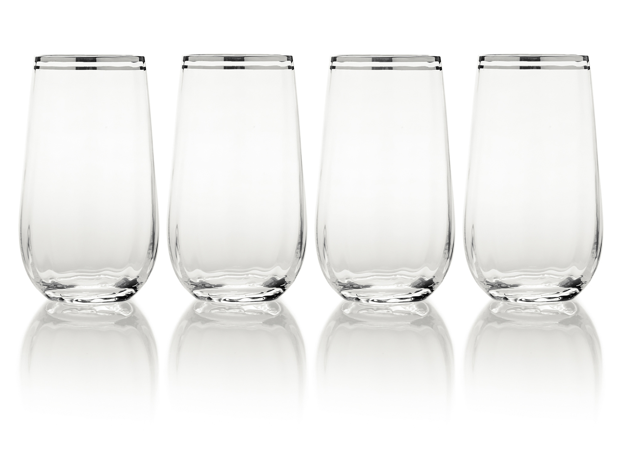 Mikasa Haley Set Of 4 Platinum 20Oz Highball Glasses