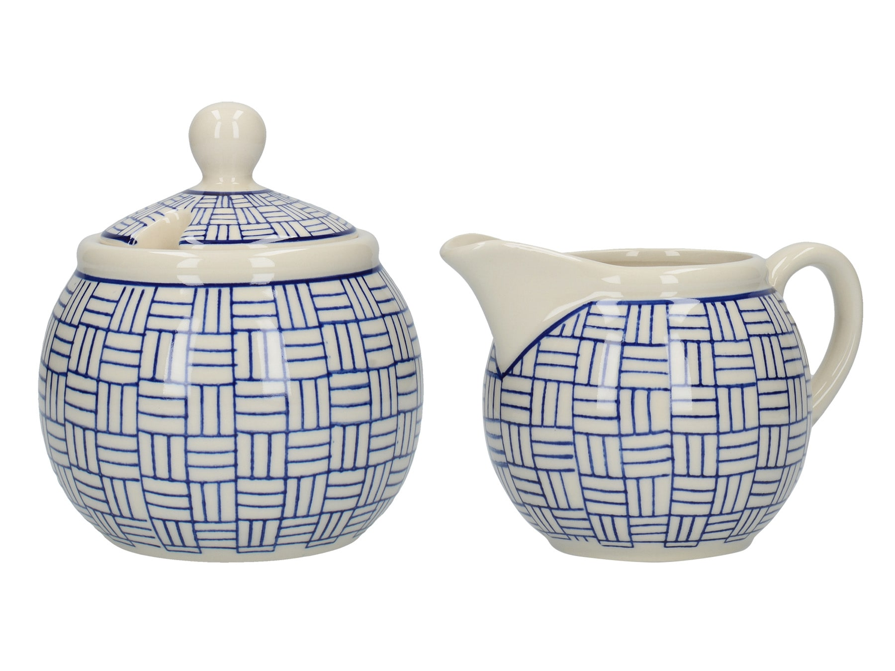 London Pottery Sugar and Creamer Set Lattice