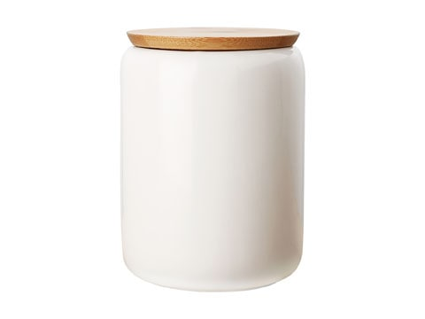 Maxwell & Williams White Basics 1.2L Canister With Bamboo Lid Gift Boxed