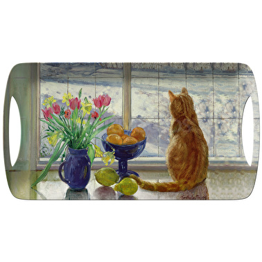 Creative Tops Snowy Cat Small Luxury Handled Tray