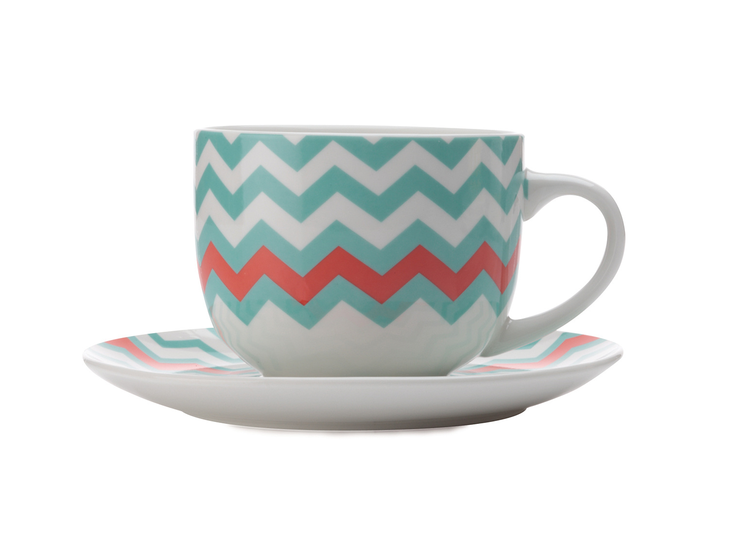 Maxwell & Williams Colour Bolt 475Ml Breakfast Cup And Saucer Teal