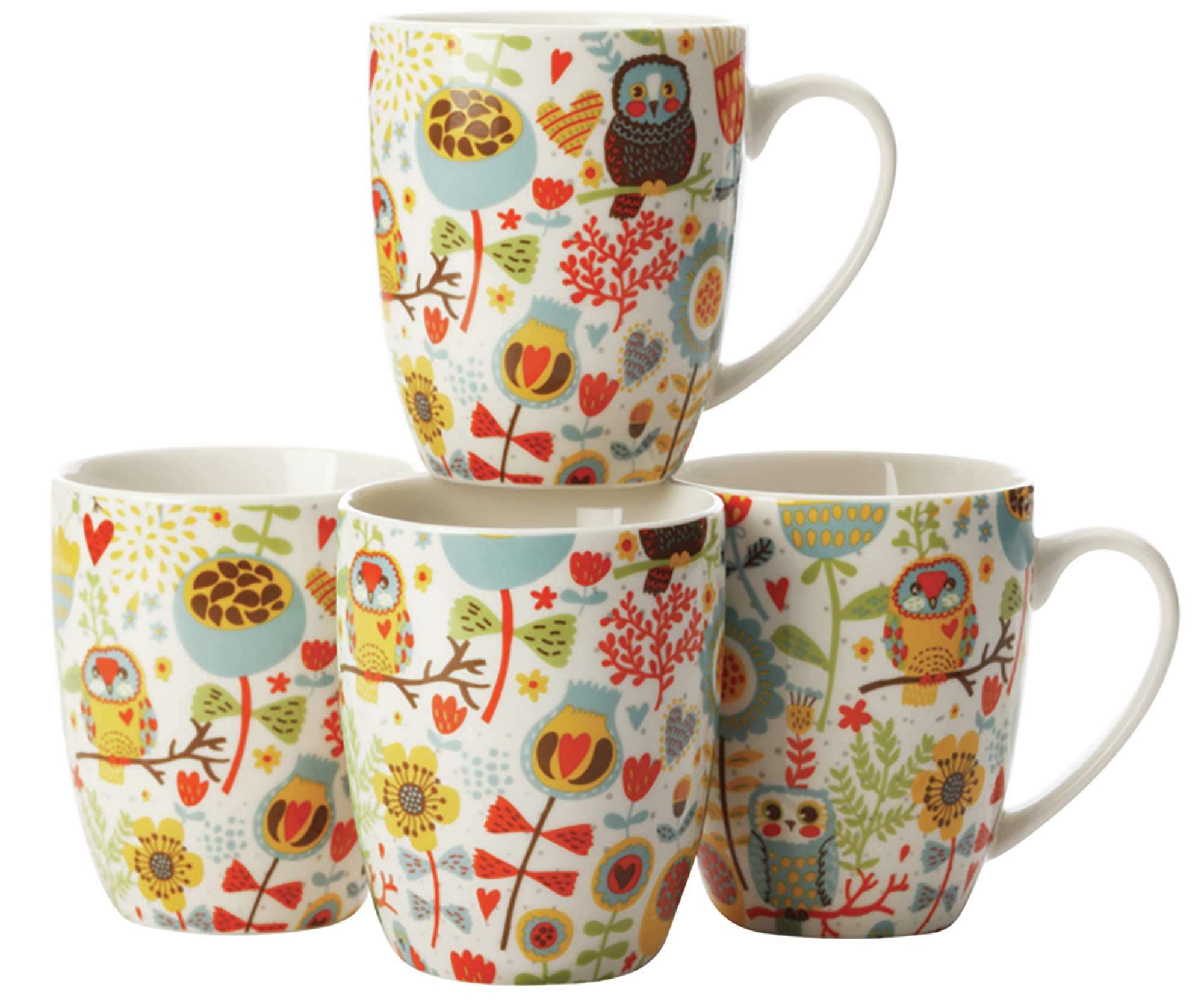 Casa Domani Owls Set Of 4 400Ml Coupe Mugs Gb