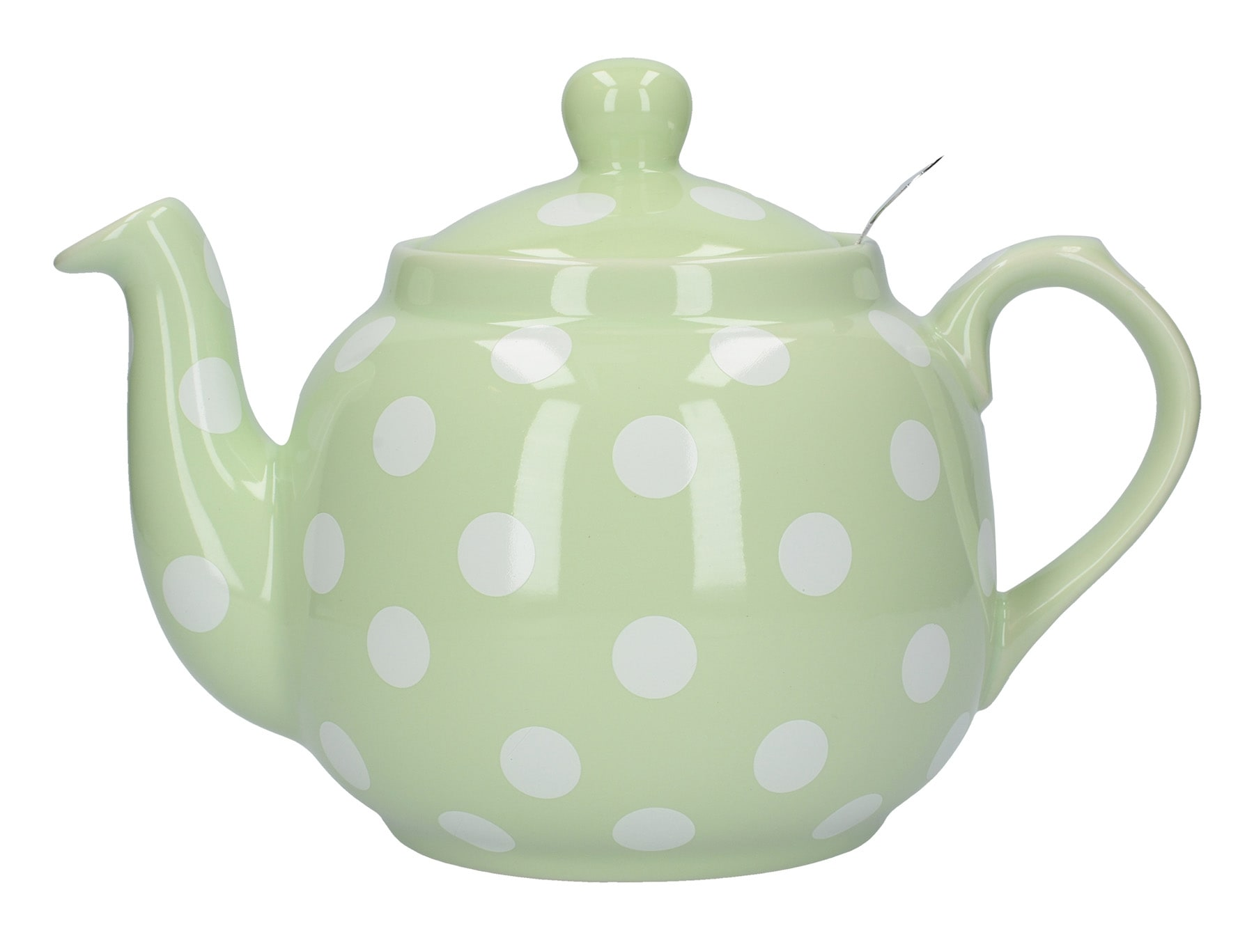 London Pottery Farmhouse 4 Cup Teapot Peppermint With White Spots