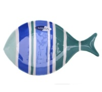 M By Mikasa Into The Blue Stripe Fish Platter