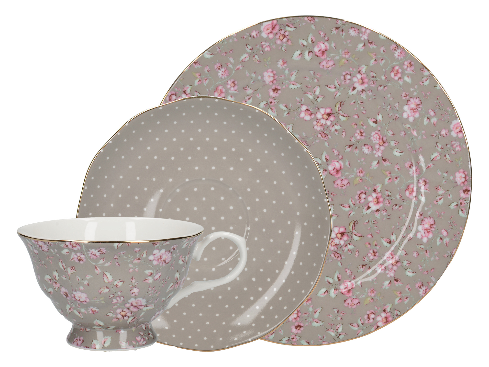 Katie Alice Ditsy Floral Afternoon Tea Set Grey Floral