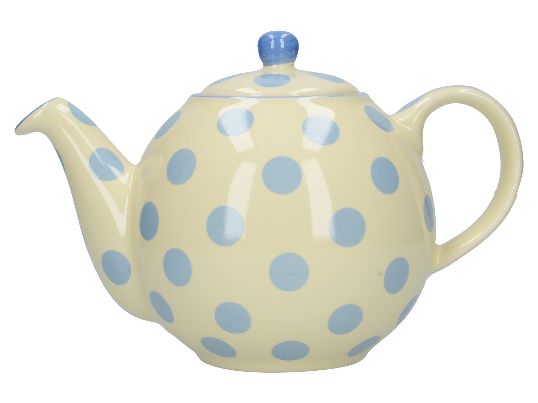 London Pottery Globe 4 Cup Teapot Ivory With Blue Spots