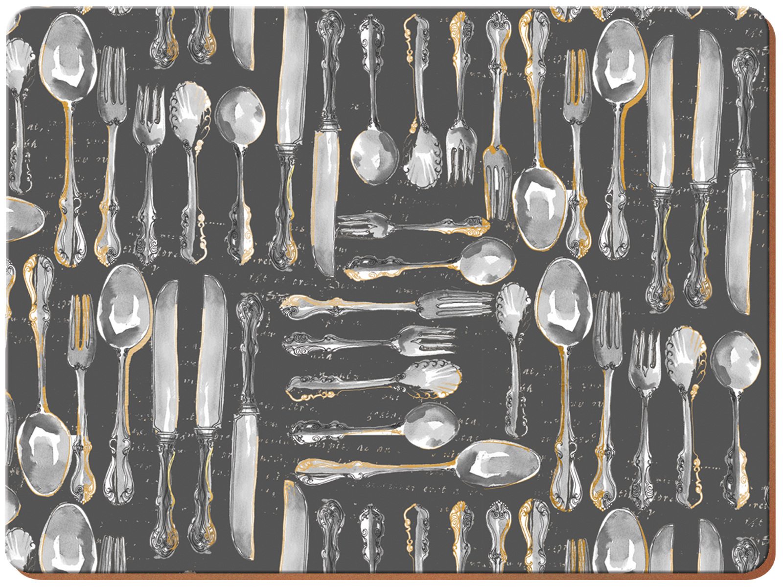 Creative Tops Metallic Cutlery Pack Of 4 Large Premium Placemats