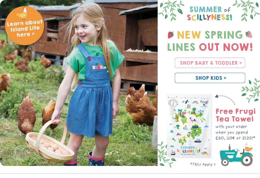 NEW spring lines out now! FREE Frugi Tea Towel with your order when you spend £60, 110€ or $120!