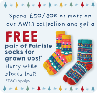 Spend £50 / 80€ or more on our AW18 collection and get a FREE pair of Fairisle socks for grown ups!
