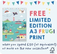 FREE Limited edition A3 Frugi print when you spend £50 (or equivalent) or more on the new collection*