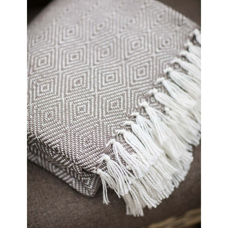 Recycled Diamond Blanket in Grey and White | Garden Trading
